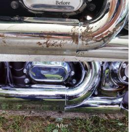 Polissage chrome miroir d'un pot d'échapement (muffler)